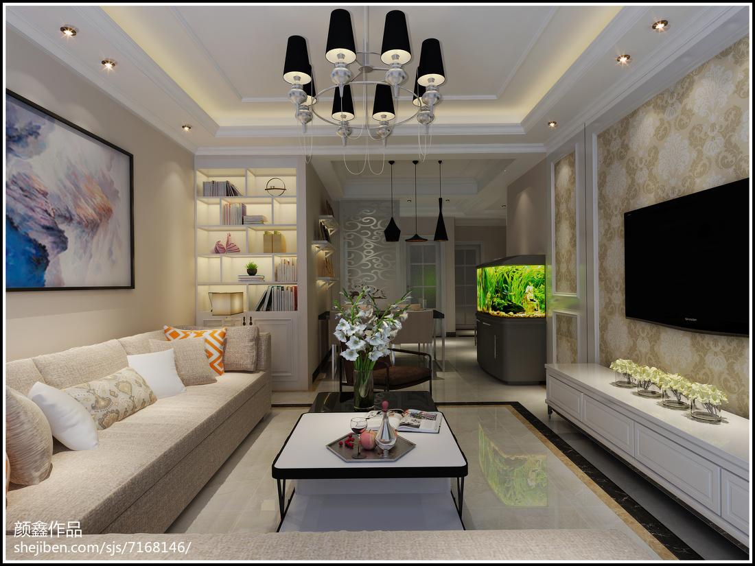 2018精选面积103平欧式三居客厅装修效果图