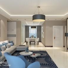 108平大小客厅三居现代效果图片