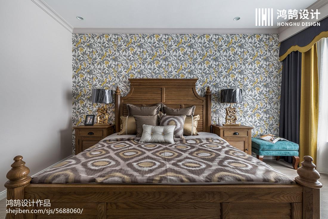 2018大小101平美式三居卧室实景图片