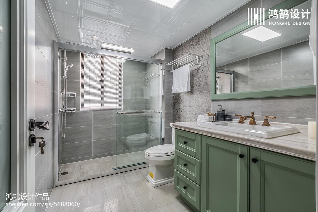 精美93平米三居卫生间美式欣赏图