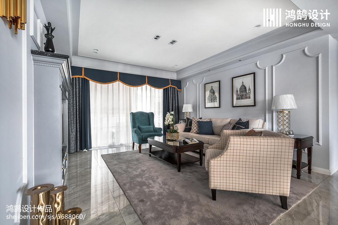 热门103平米三居客厅美式装修图片
