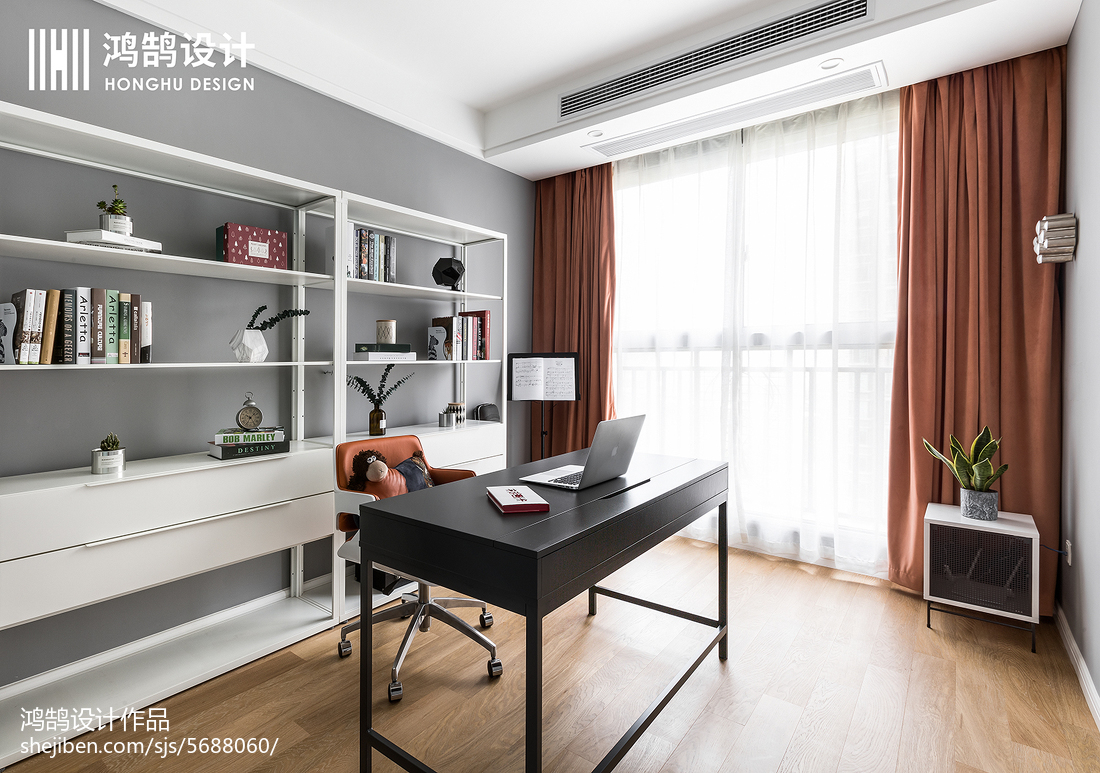 悠雅117平北欧三居书房设计美图