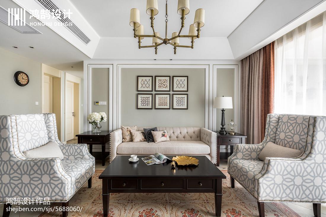 115平米四居客厅美式装饰图片