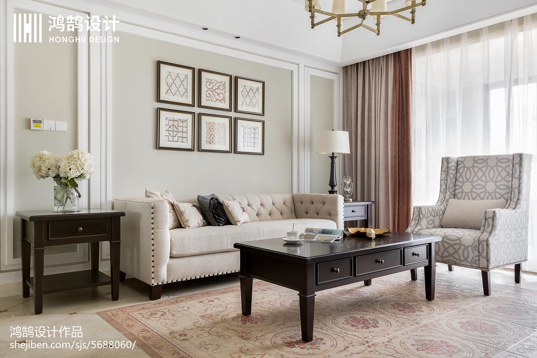 2018精选面积121平美式四居客厅装修图片欣赏