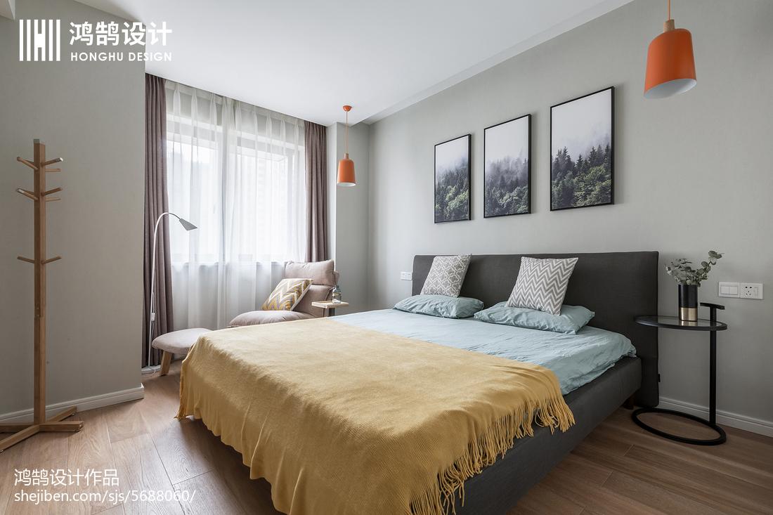 82平米二居卧室北欧效果图