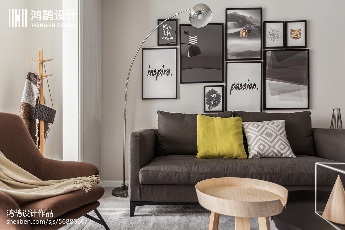 精选面积72平北欧二居客厅装修实景图片大全