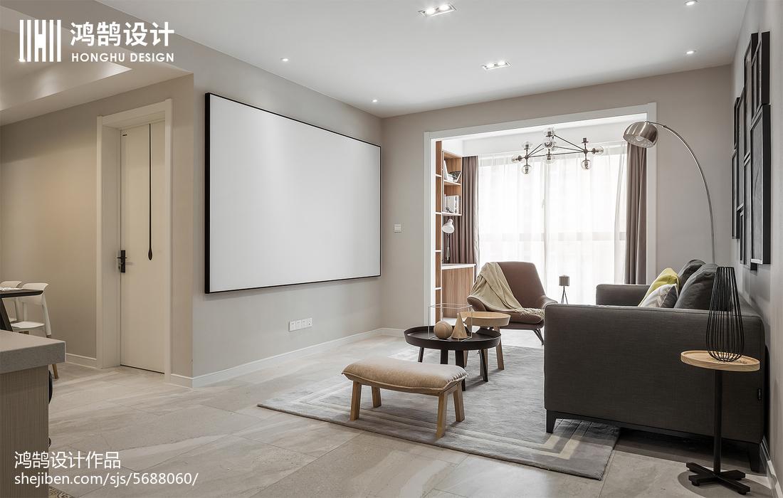 热门78平米二居客厅北欧装修实景图
