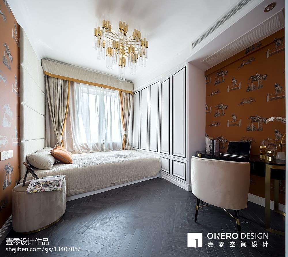2018108平方三居卧室现代装饰图