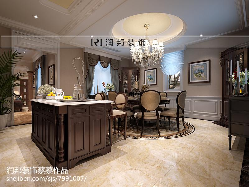 高雅欧式风格餐厅罗马帘设计效果图