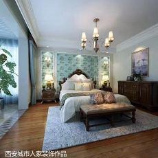 2018精选96平米三居卧室美式装修效果图片