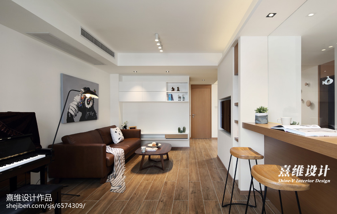 2018精选面积72平简约二居客厅装修设计效果图片大全