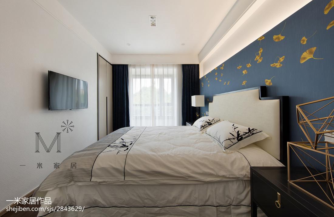2018精选面积107平中式三居卧室效果图片大全