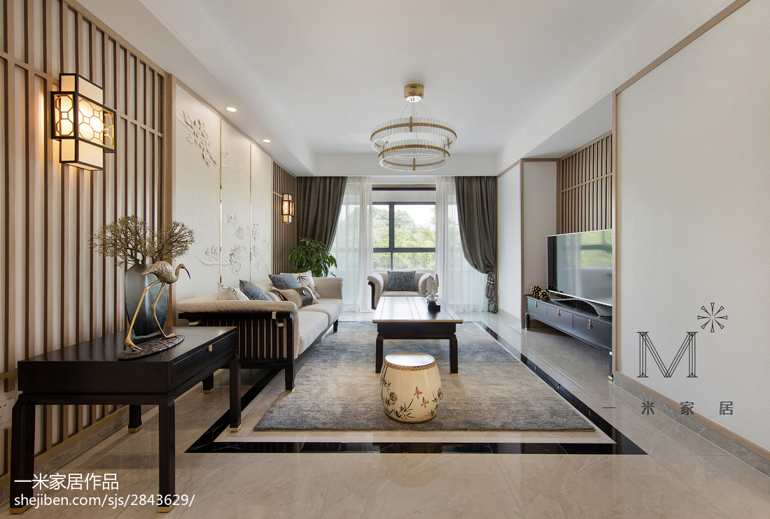 2018面积90平中式三居客厅欣赏图片