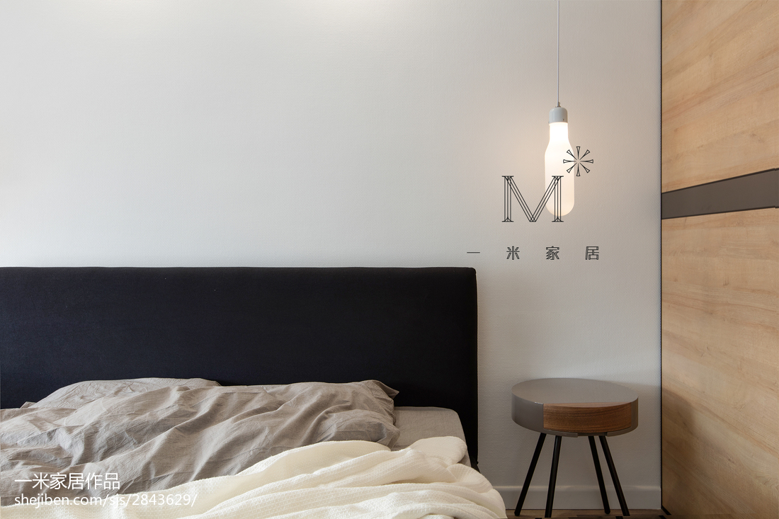 面积108平北欧三居卧室装修设计效果图片