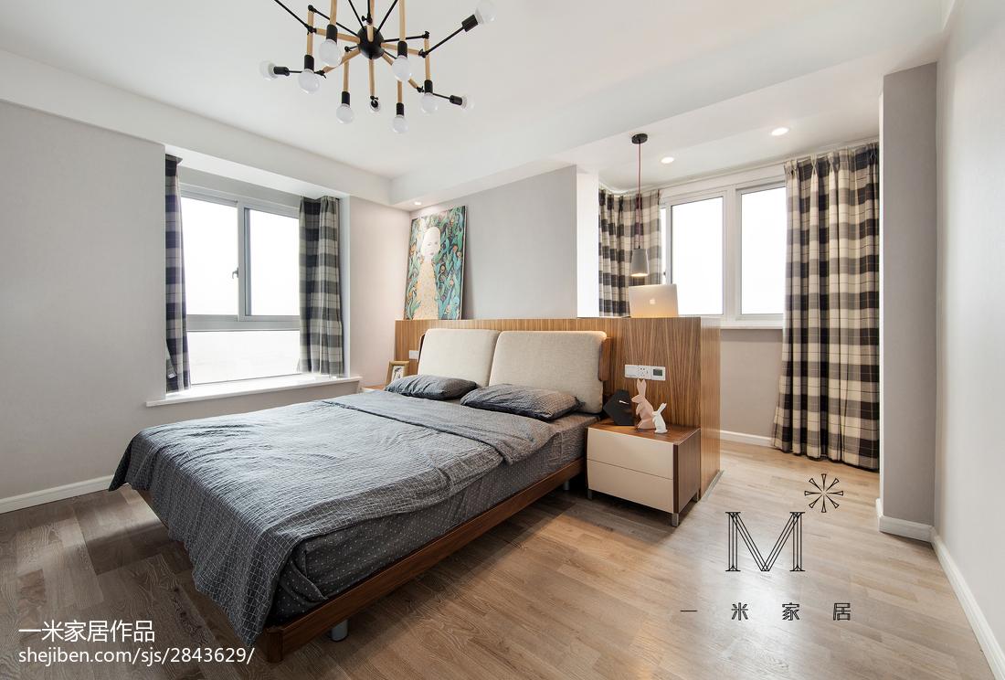 2018精选103平米三居卧室北欧装修实景图