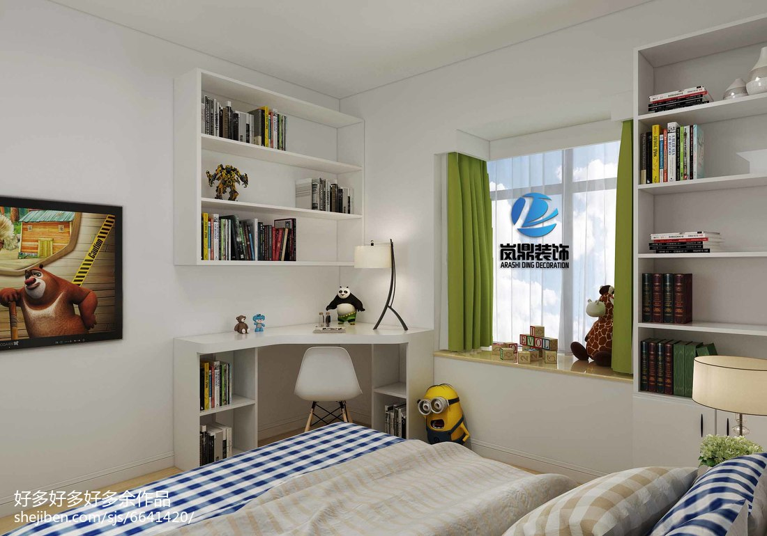 蓝白地中海风情客厅装饰