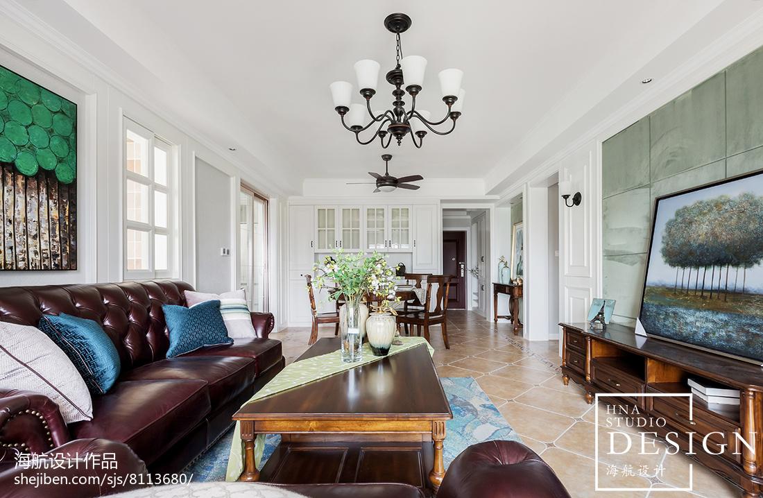 精美面积108平美式三居客厅装饰图片大全