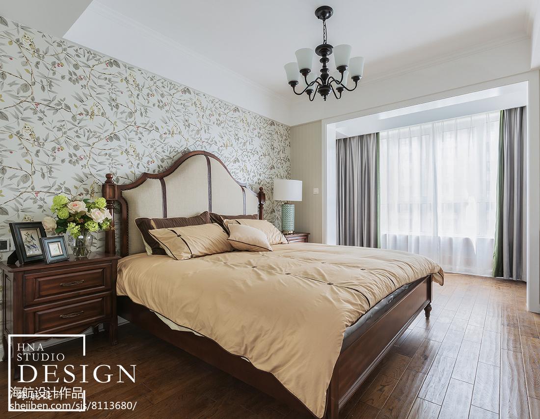 热门98平米三居卧室美式装修欣赏图