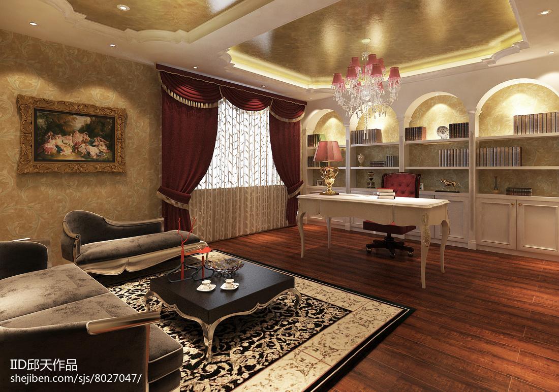 最热124平米欧式别墅书房装修图片欣赏