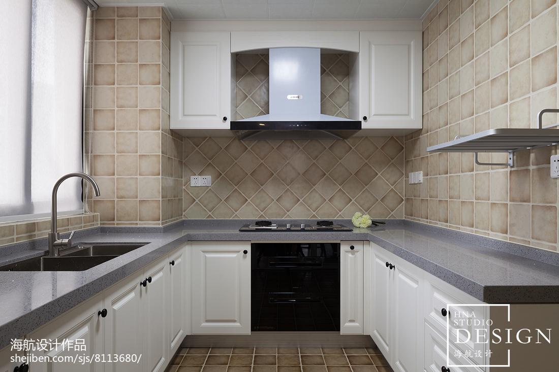 2018面积97平美式三居厨房装修欣赏图片大全