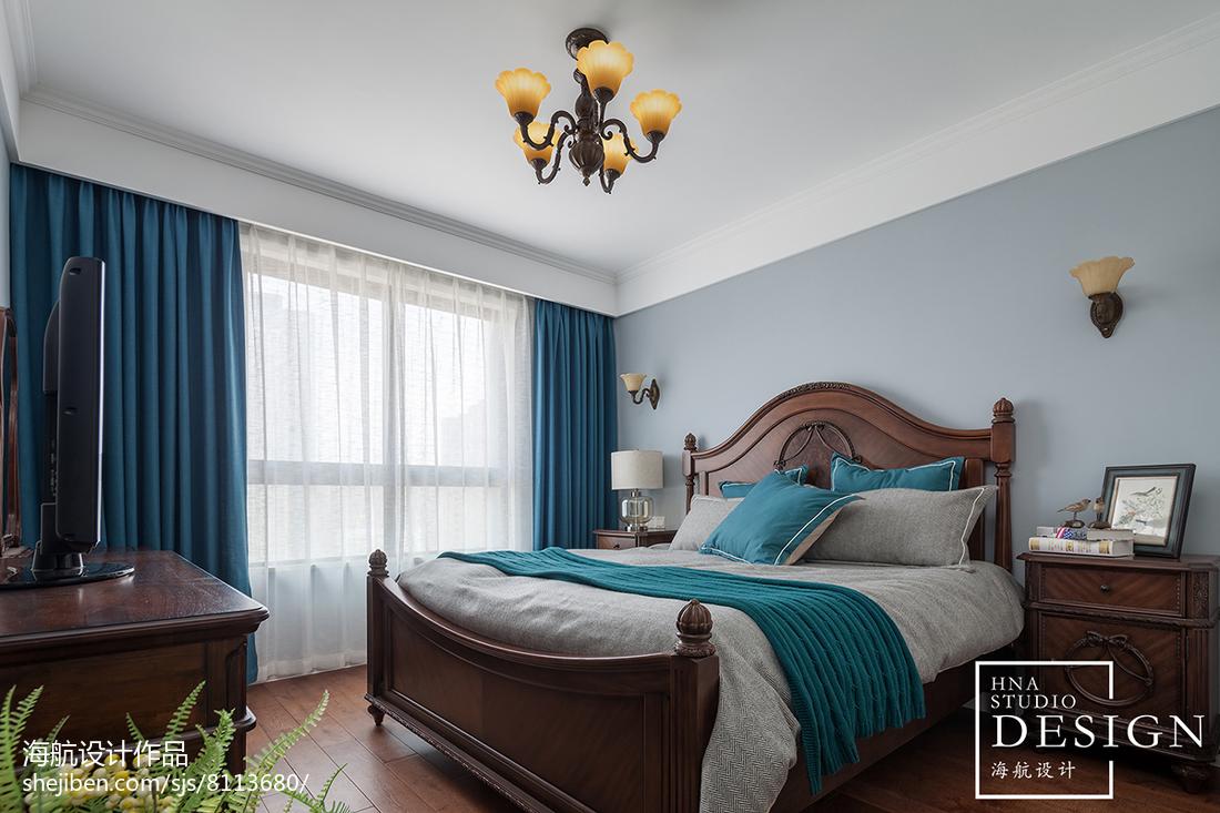 精选面积102平美式三居卧室实景图片