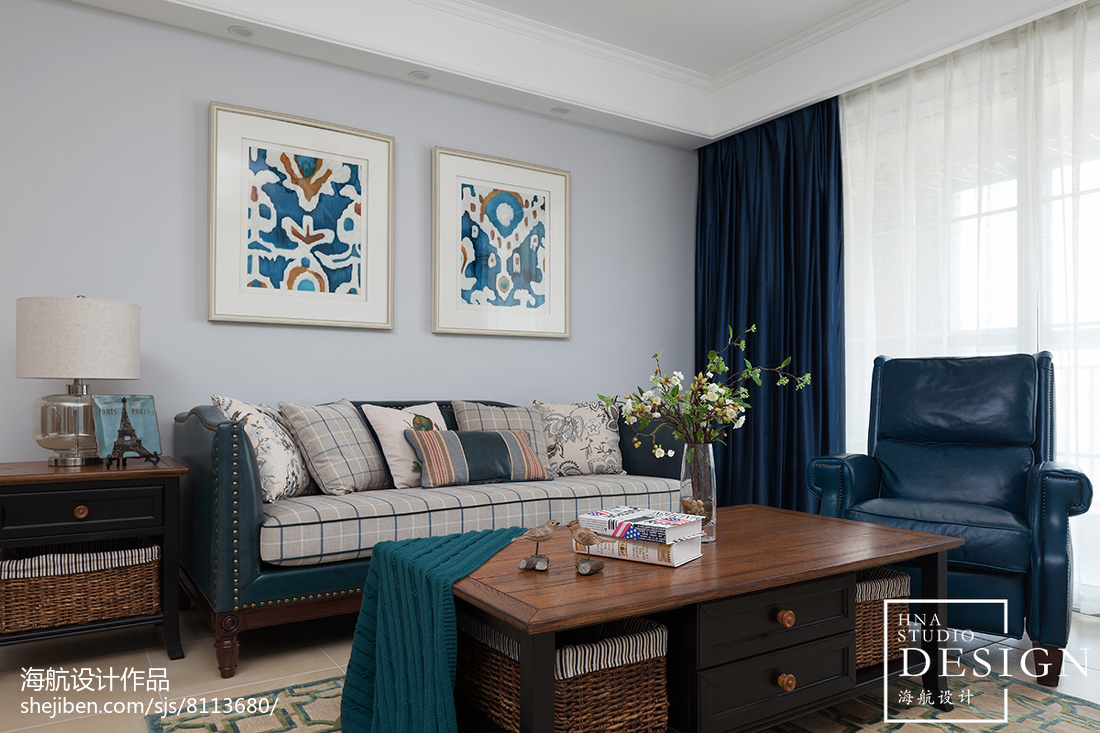 精美面积95平美式三居客厅装饰图片大全
