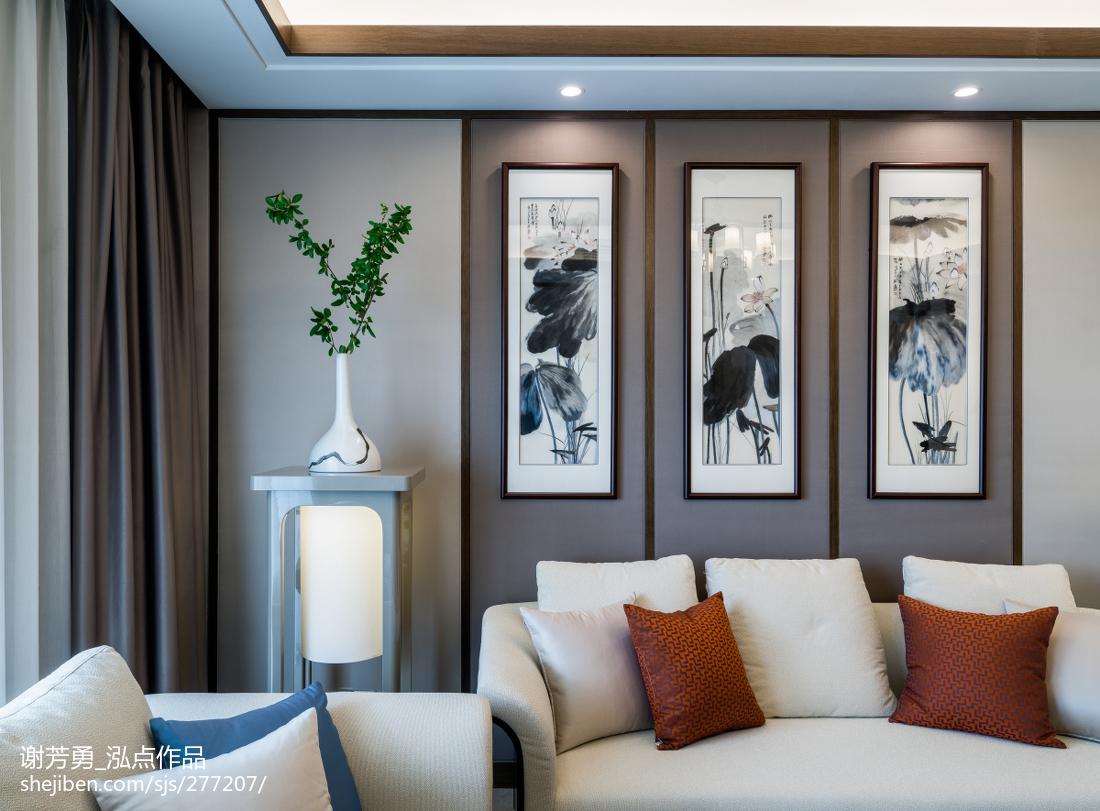 面积144平中式四居客厅实景图片