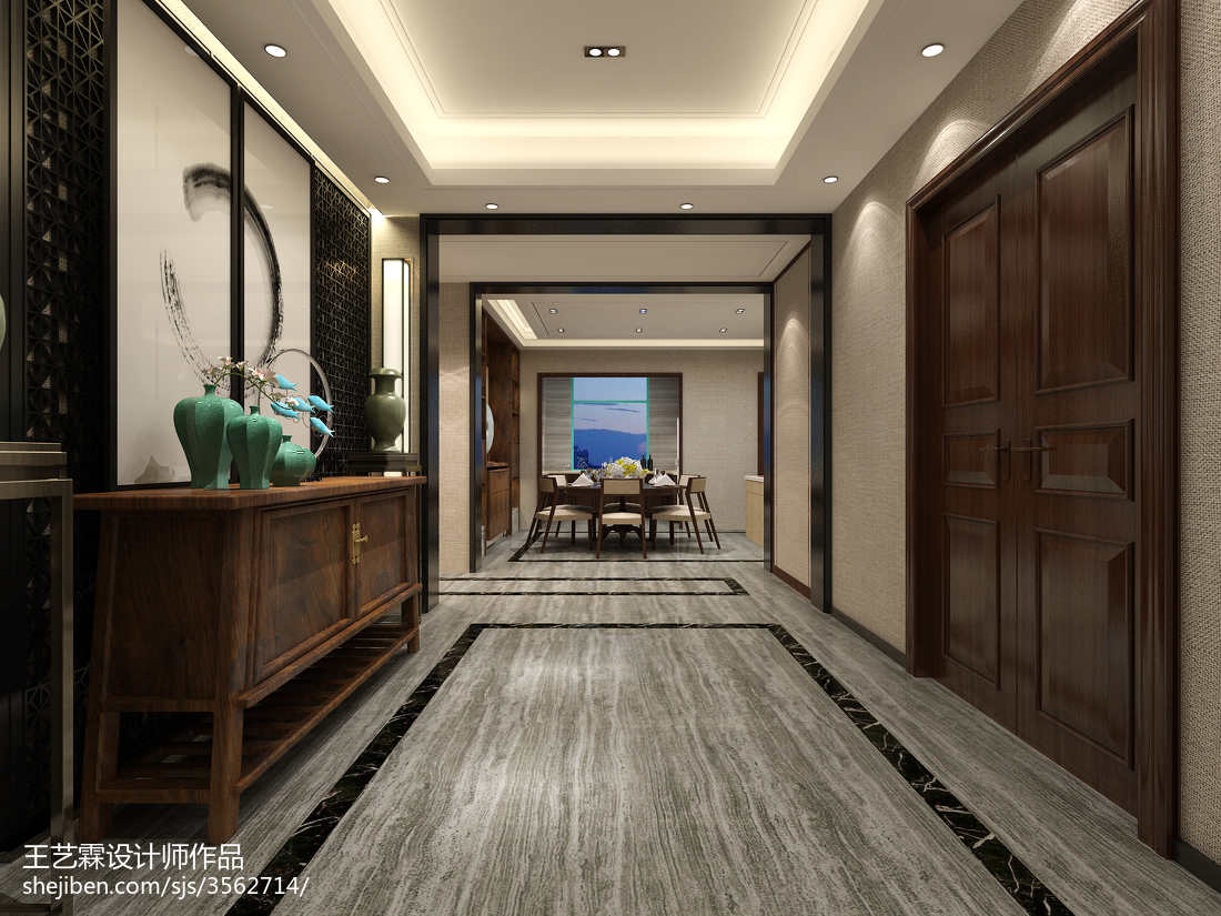中式古典设计实木吧台效果图片
