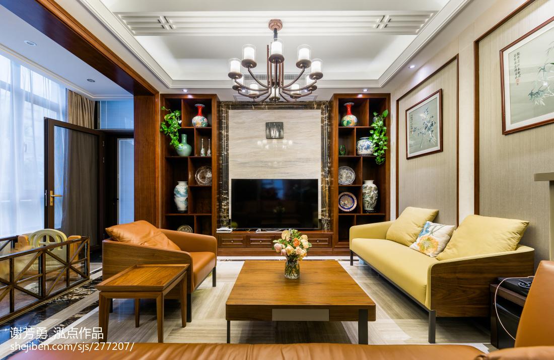 精美面积131平别墅客厅中式装饰图
