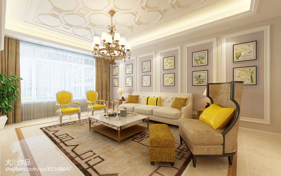 轻奢322平法式别墅客厅设计效果图