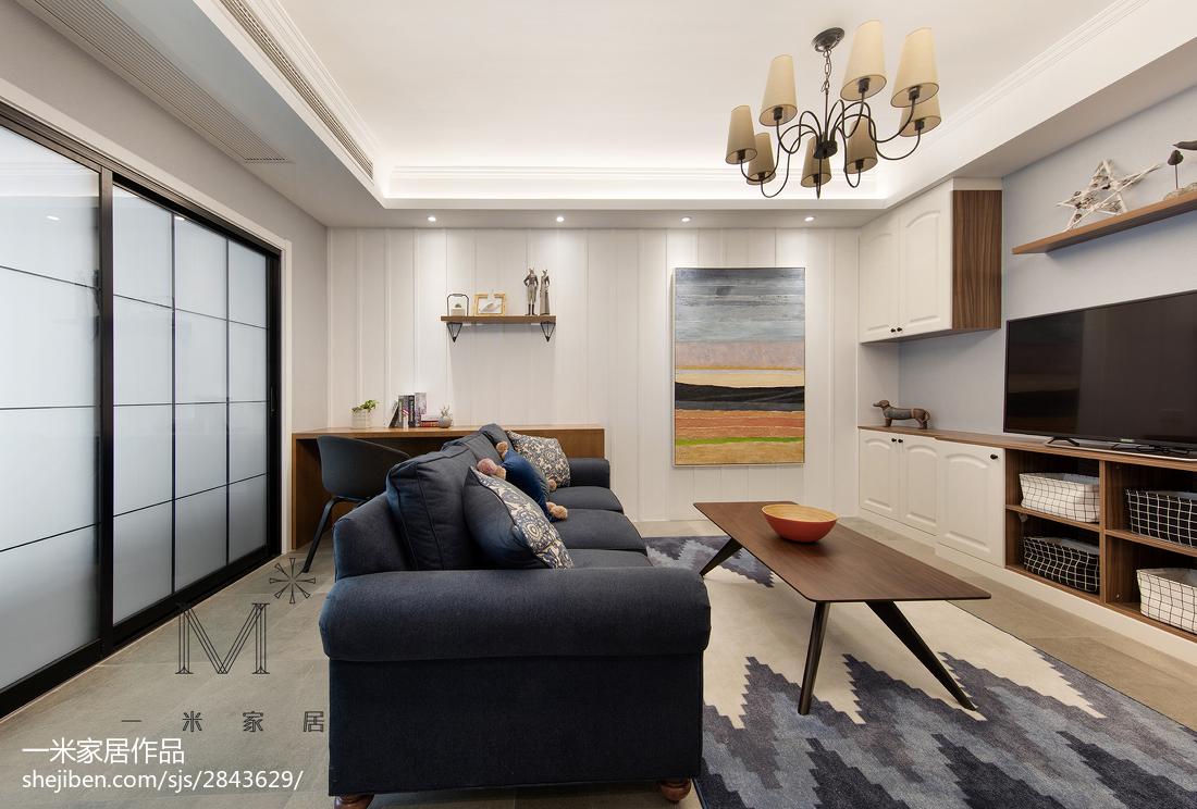 2018面积95平美式三居客厅装修实景图片