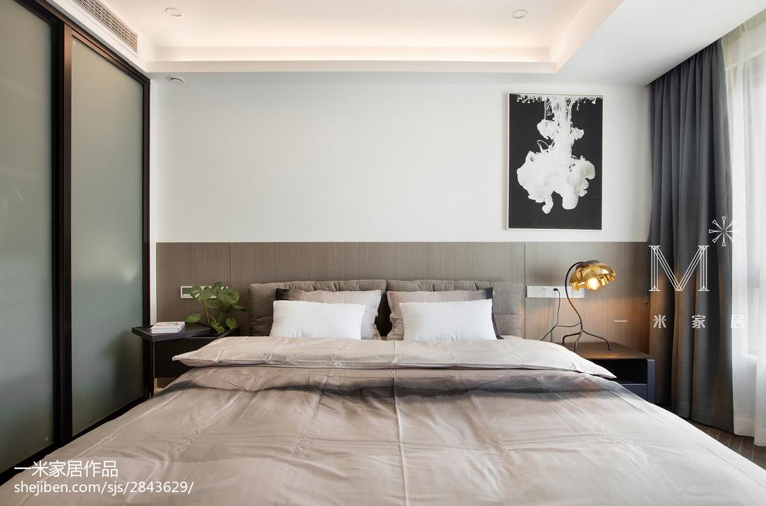 热门104平米三居卧室现代装修设计效果图片