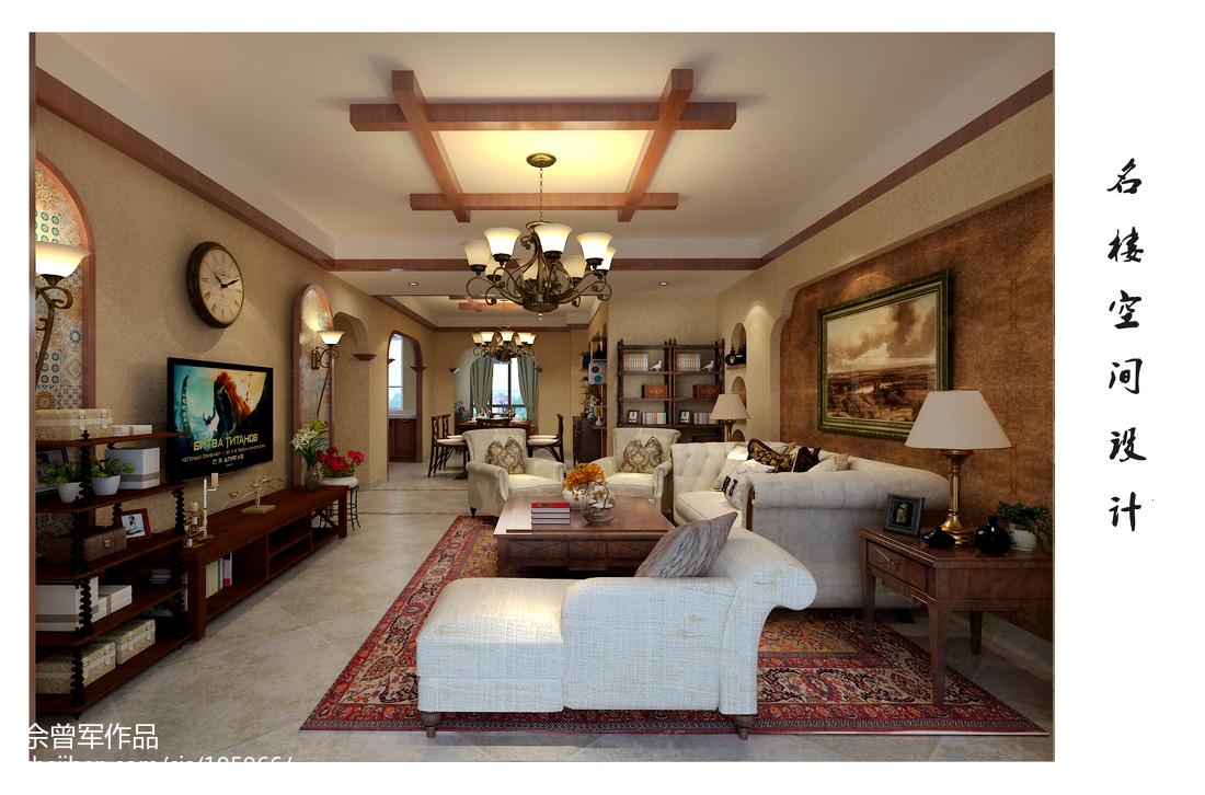美式风格复式设计楼梯装饰图片
