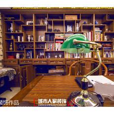 热门面积144平别墅书房中式装修欣赏图片
