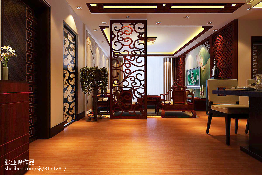 简欧复古风设计四居室装修效果图