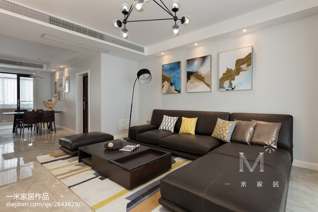 精美98平米三居客厅现代实景图片大全