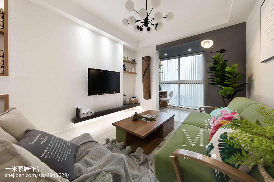 质朴54平北欧二居客厅装修装饰图