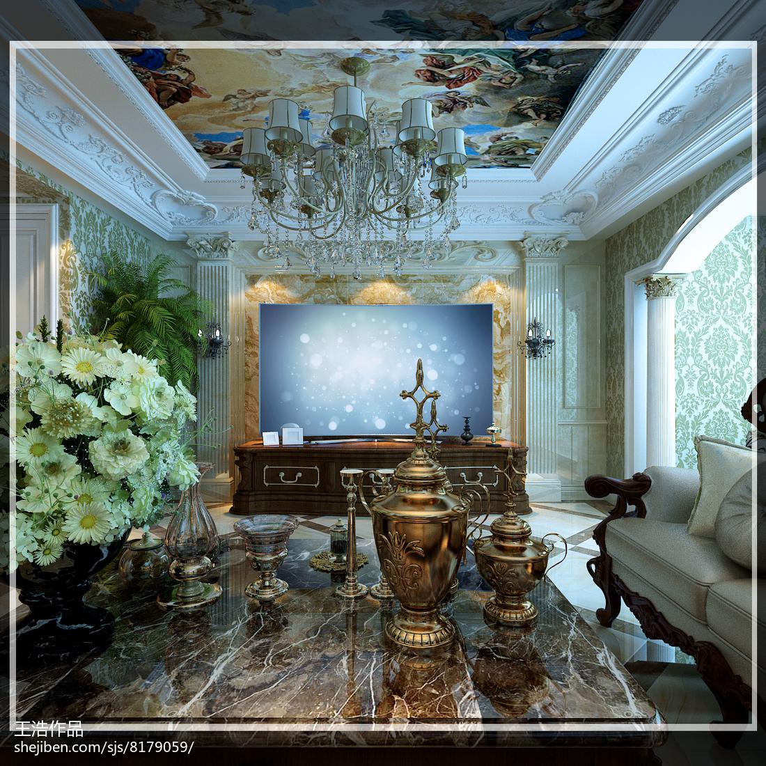 绿色清新欧式客厅装饰