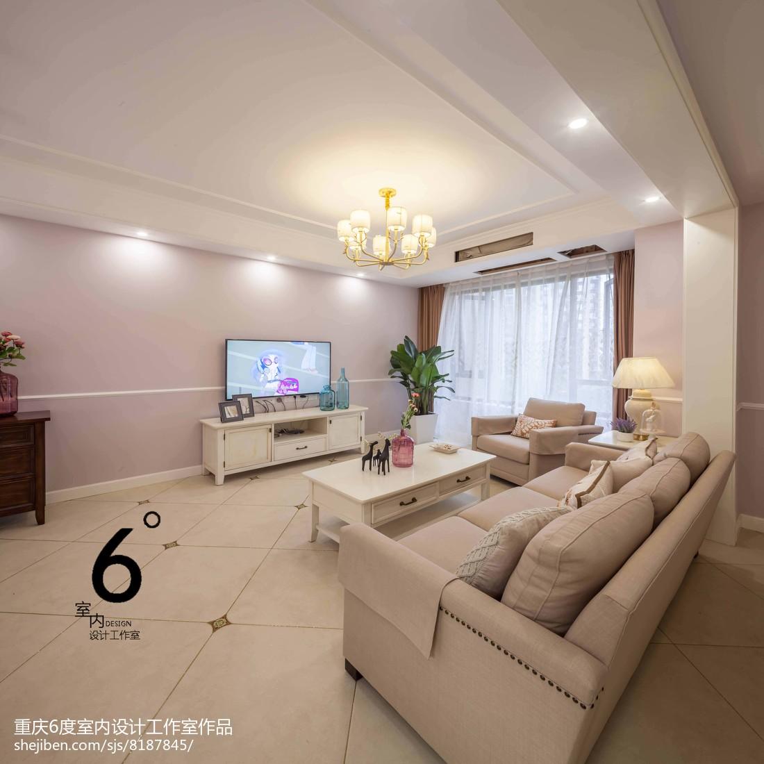2018精选面积92平美式三居客厅效果图片大全