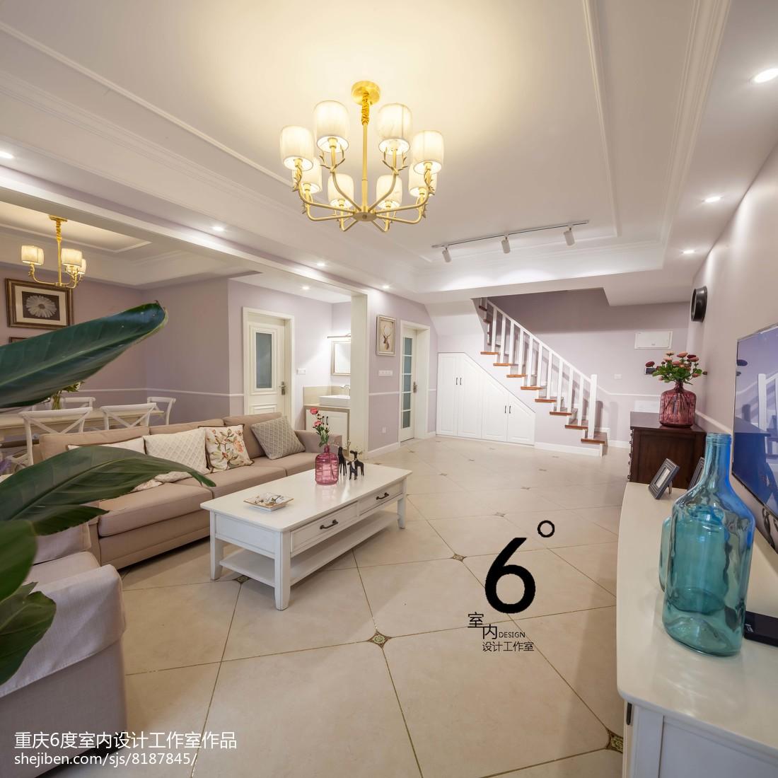 精美大小95平美式三居客厅装修实景图片