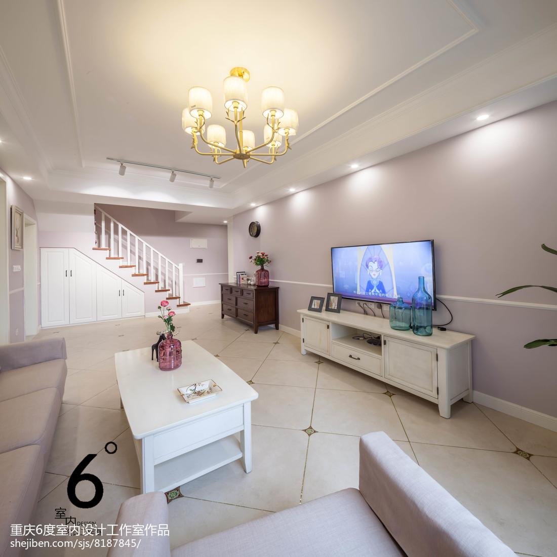 2018面积99平美式三居客厅设计效果图