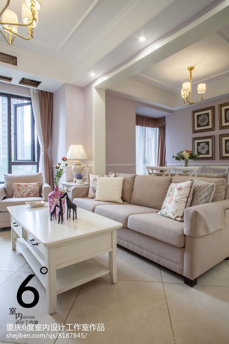 面积93平美式三居客厅装修效果图片大全