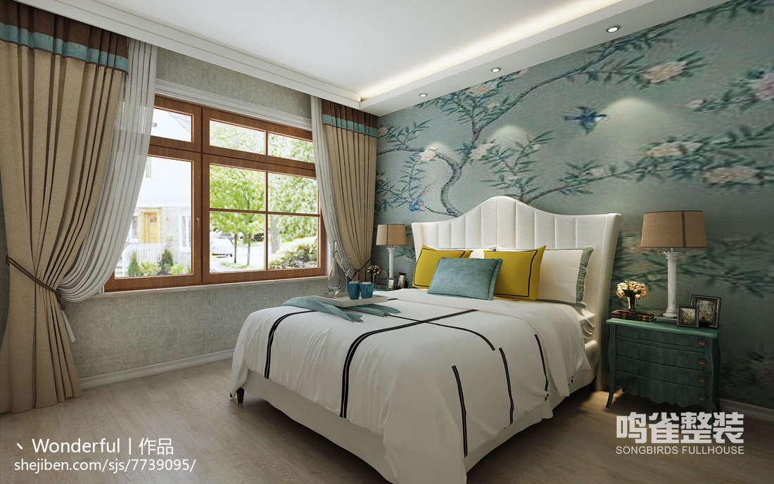 美式悠闲原木卧室设计