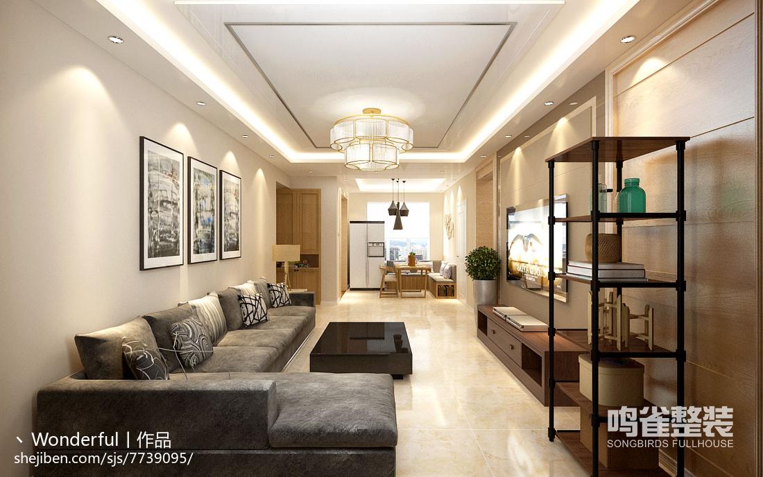 中式优雅设计休闲区博古架设计效果图