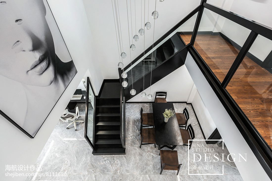 180m²现代黑白灰楼梯设计图片