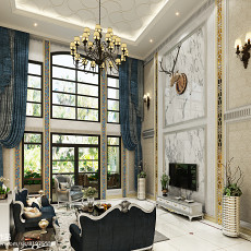 热门面积138平别墅客厅欧式效果图片大全