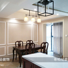 2018精选108平方三居餐厅美式装修实景图片