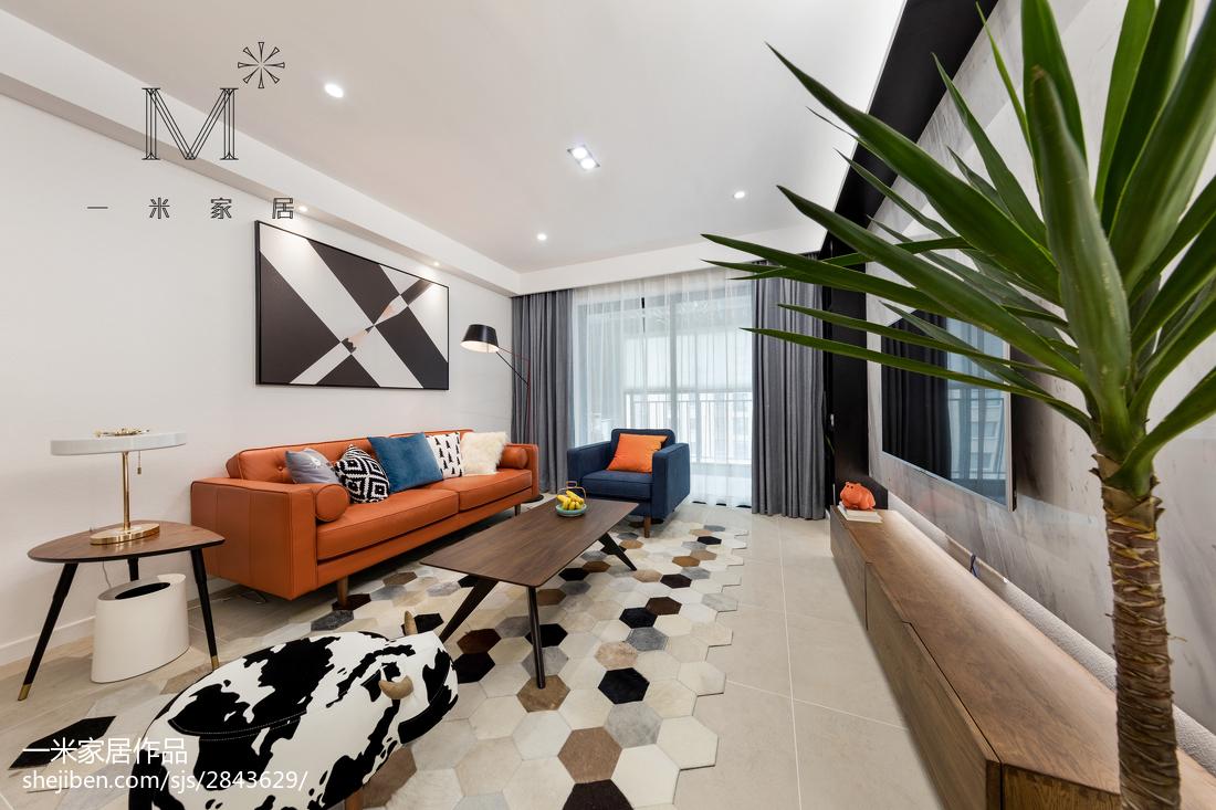 2018面积92平现代三居客厅装修欣赏图片