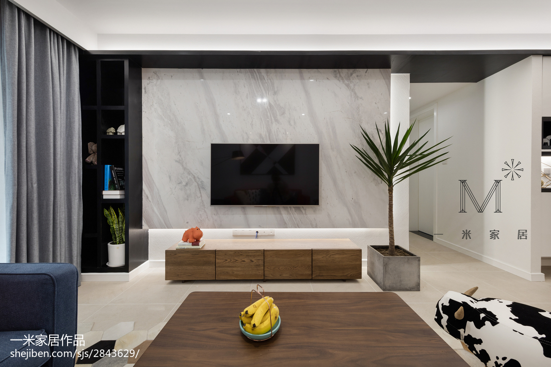 精美大小95平现代三居客厅装修实景图片大全