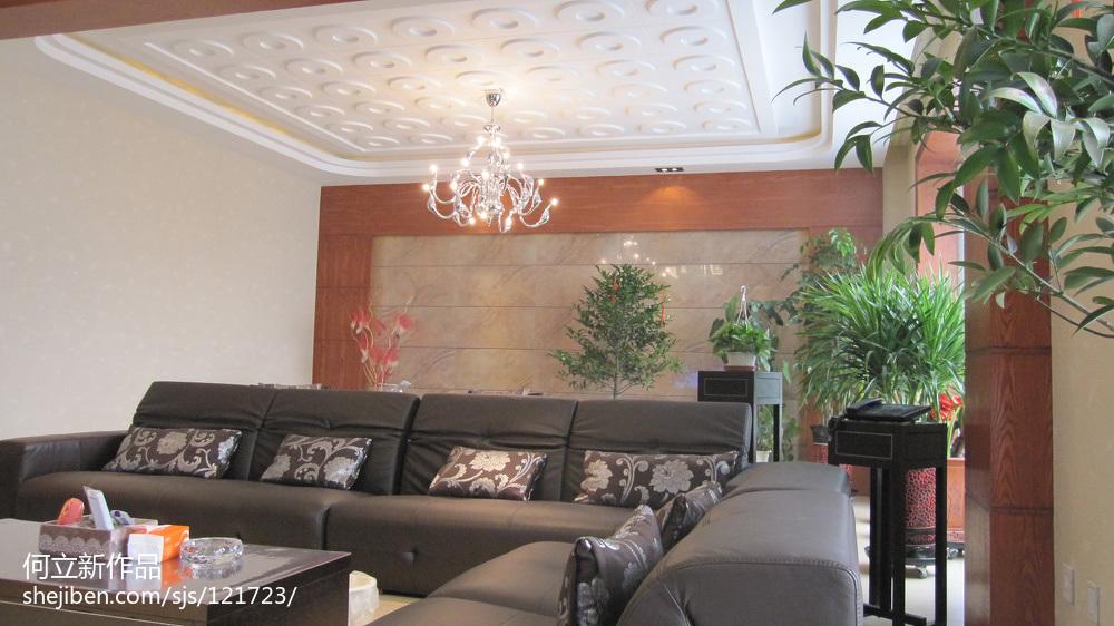 質樸408平中式別墅客廳效果圖片大全